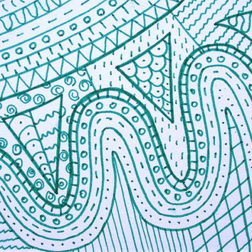 OOAK green zentangle ACEO, zen doodle art card original, zentangle design
