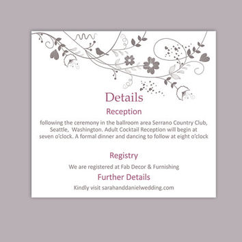 DIY Wedding Details Card Template Editable Text Word File Download Printable Details Card Purple Details Card Elegant Enclosure Cards