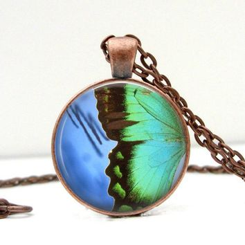 Butterfly Wing Necklace: Green Blue Black. Pendant. Butterfly Art. Butterfly Jewelry (1348)