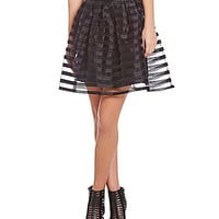 Freeway Illusion-Stripe Skater Skirt - Black