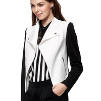 Black and White Contrast Button Detail Slim Blazer