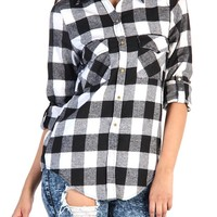 Plaid Button Up Shirt - Black / White