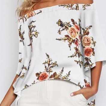 White Off Shoulder Bell Sleeve Floral Print High Low Top