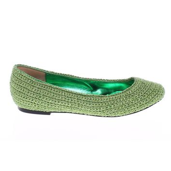 Dolce & Gabbana Green Knitted Ballerinas Ballet Flats Shoes