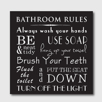 Typography Art Print - Bathroom Rules - 10 x 10 print - Bathroom Wall Art - Subway Art - black and white or vintage or chalkboard background