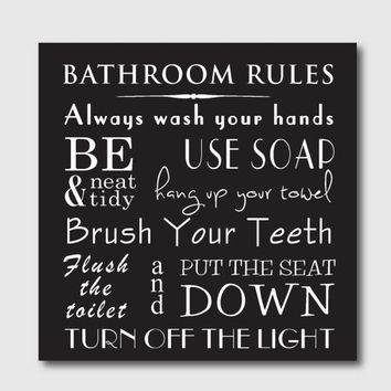Typography art print bathroom rules 10 x 10 print bathroom
