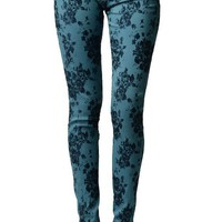 Floral Blue Cross Ziper Jeggings