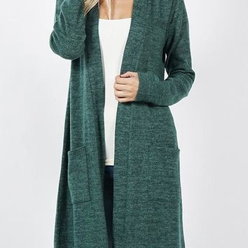 Brushed Sweater Pocket Cardigan
