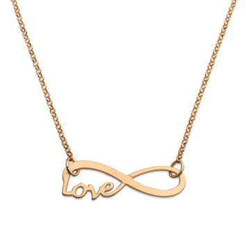18K Yellow Gold plating Sterling Silver infinity and Love necklace