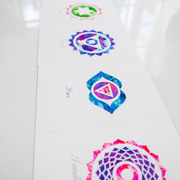 Yoga Reiki Art SET of 7 Chakras Mandala Art Metaphysical Art Spiritual Posters Healing Art Sacred Geometry Meditation Art YOGA wallart Lotus