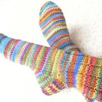 Socks Unisex Worsted Weight Hand Knit Primary Stripes