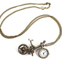 Vintage Brass Tone Bicycle&Pocket Watch Long Chain Pendant Necklace