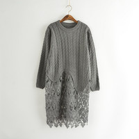 Cutout Lace Long-Sleeve Knitted Sweater