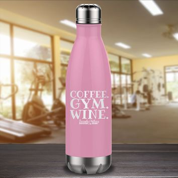 Coffee Gym Wine Laser Etched Water Bottle
