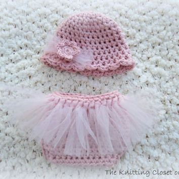 Newborn Photo Prop - Crochet Diaper Cover Pattern and Hat Pattern - Soaker Pattern - Tutu - Ballet