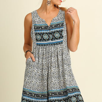 Afternoon Outing Dress - Blue