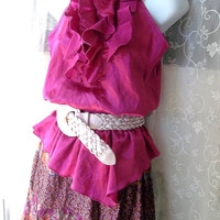 Vintage Gypsy Bohemian Romantic,  Ruffled Peasant Blouse. Calico. Ruffled tiered circle.dirndl Skirt.