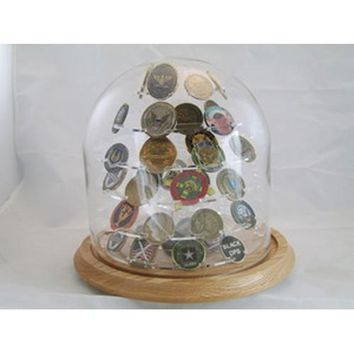 Glass Dome Coin Display, Large Challenged Coin display Hand Made By Veterans
