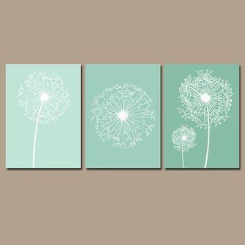 DANDELION Wall Art, Dandelion Decor, Ombre Bedroom Pictures, CANVAS or Prints, Dandelion Sea Foam Bathroom Decor, Dorm Room Decor, Set of 3