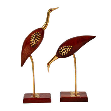 Wooden Crane Bird Set Of 2 Pcs- Beautiful product for Home Decor