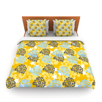 """Nandita Singh """"Blue and Yellow Flowers """" Gold Floral Lightweight Duvet Cover"""