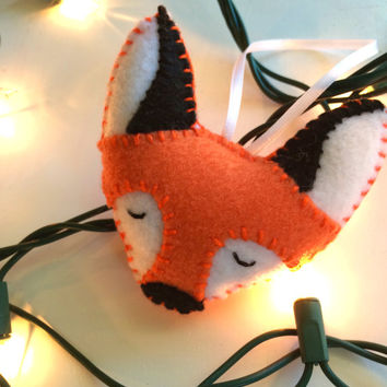 Fox Face Felt Plushie Ornament