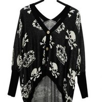 Skull Bat Sleeve Sweater Black S002472