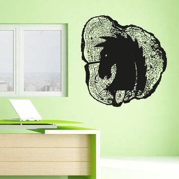 Vinyl Wall Decal Sticker Horse Head Wood Carving #OS_AA1599