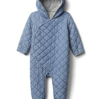 Quilted chambray bear one-piece | Gap