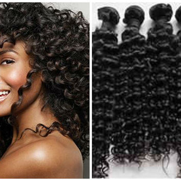 Virgin Brazilian Hair Extensions/ Brazilian Curly /Natural Brown