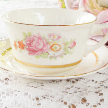 Vintage Canonsburg Cottage Style Tea Cup Set, Keystone, Shabby Chic, Tea Party, French Farmhouse, Weddings, Ca. 1940's