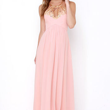 Bariano Gala Glam Peach Beaded Maxi Dress
