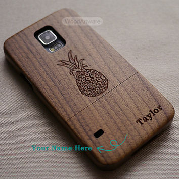 Pineapple phone case, Wood Galaxy s5 Case, Pineapple Samsung Galaxy s4 Case, Wood Samsung Galaxy s3, Custom Samsung Case - B10