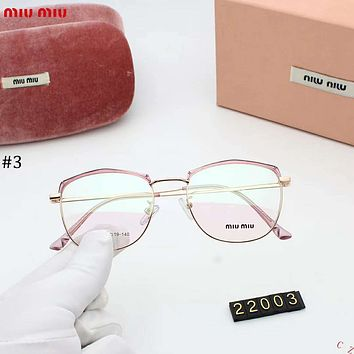 MIUMIU 2018 new retro metal glasses frame large box square flat mirror #3