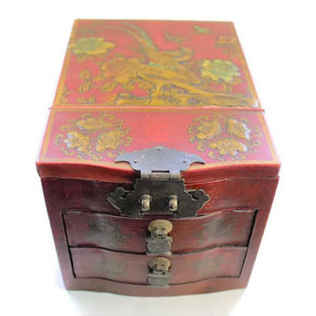 Asian Jewelry Box With Folding Mirror,  Maroon Red Lacquer With Floral, Bird, And Butterfly Motif In Gold Paint