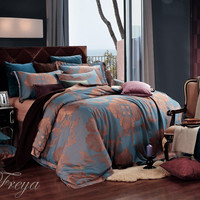Freya, Dolce Mela Jacquard Damask Luxury Bedding Queen or King Duvet Cover Set