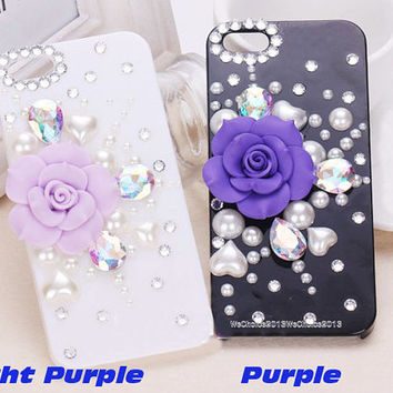 Free Phone Case & Set Auger Flower Bling AB Gem  DIY Deco Kit Decoden Kit Cabochon Deco Kit For DIY Cell Phone iPhone 4G 4S 5 Case
