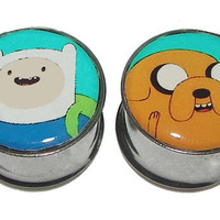 "Adventure Time Finn & Jake Plugs - 1 Pair - Sizes 2g, 0g, 00g, 7/16"", 1/2"", 9/16"", 5/8"", 3/4"", 7/8"", 1"""