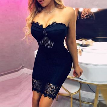 Sexy Eyelash Lace Insert Tube Dress Women Sweetheart Neck Sleeveless Night Club Party Dress Female Bodycon Mini Dress
