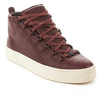 Balenciaga Men's Arena Leather High Top Sneaker Shoes Burgundy