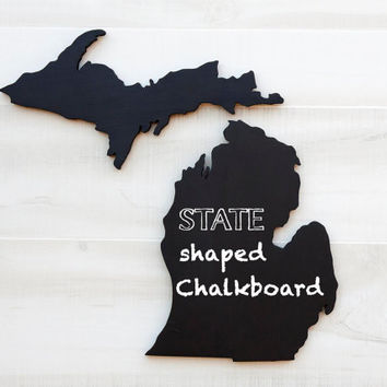 Michigan shape sign wood cutout Chalkboard wall art. Message Board for college dorm or office, State Pride, Country Cottage Chic Decor.