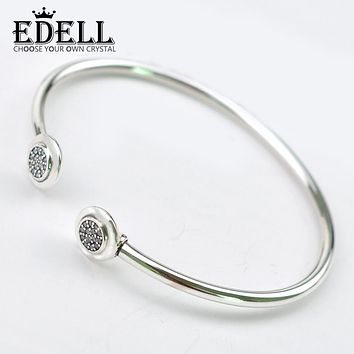 EDELL Authentic 925 Sterling Silver Bangle Pan Signature With Crystal Open Bracelet Bangle Fit Style Bead Charm DIY Jewelry