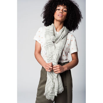 Green lightweight scarf with silver details