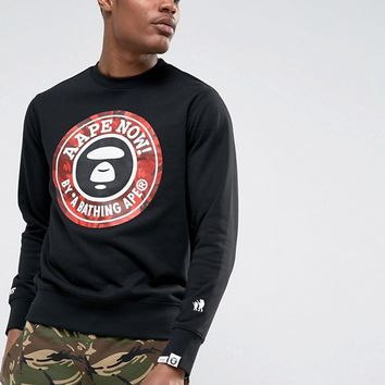 AAPE By A Bathing Ape Sweatshirt With Large Logo at asos.com