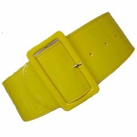 Luxury Divas  YELLOW PATENT LEATHER 3'' WIDE ELASTIC CORSET WAIST BELT