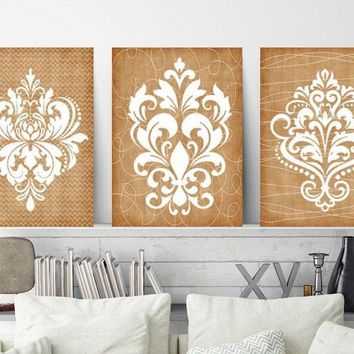 DAMASK Tan Bedroom Pictures, CANVAS or Prints, Brown Bathroom Decor, Beige Brown Bedroom Pictures, Set of 3, French Country Decor Wall Decor