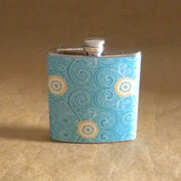 Stocking Stuffer Turquoise Swirl with Yellow Flower Print 6 ounce Stainless Steel Girl Gift Flask KR2D 6686