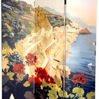 Oriental Furniture Unique Vintage Travel Posters Italian Riviera, 6-Feet Tall Double Sided Amalfi/Ri