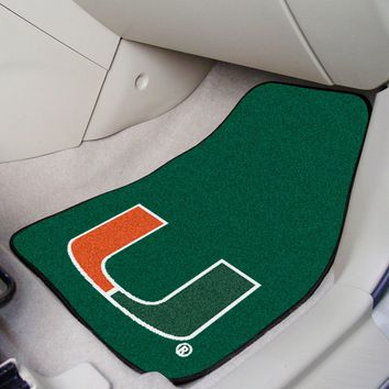 University of Miami Hurricanes Car Mats Set - 2Pc Carpeted Universal Fit