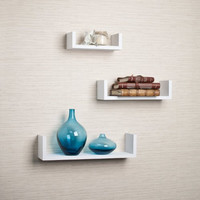 Set of 3 Floating U Shelves in White Finish